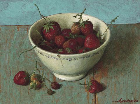 Aardbeien – 25 x 30 cm – acryl op paneel – niet beschikbaar