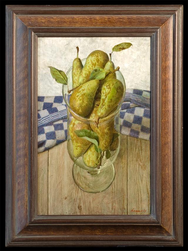 Bokaal met peren – 2009 – 30 x 47 cm – acryl op paneel – niet beschikbaar