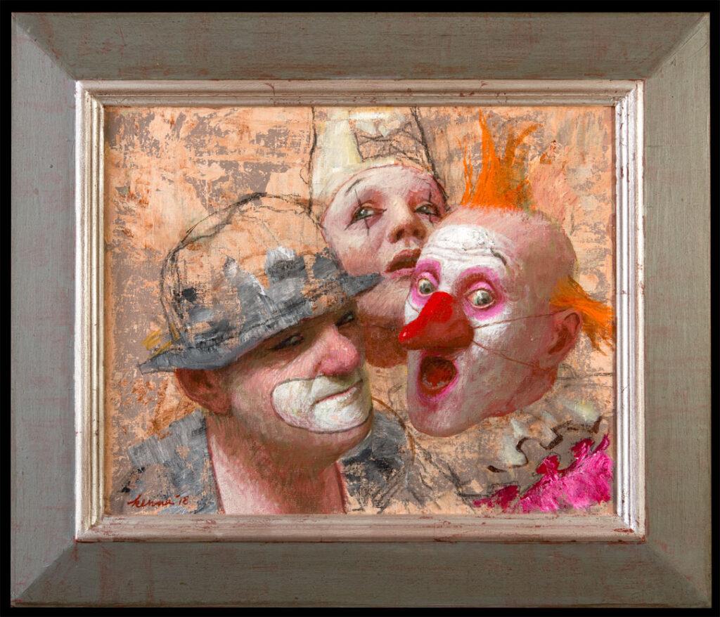 Clownskoppen – 2018 – 45 x 36 cm – acryl op linnen – beschikbaar
