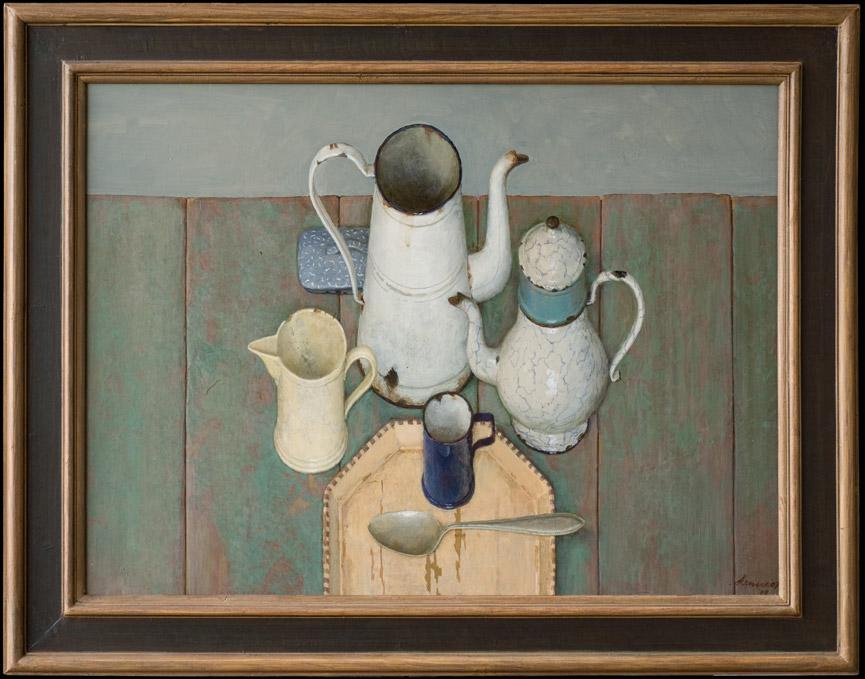 Compositie met kannen – 20072009 – acryl op paneel – niet beschikbaar