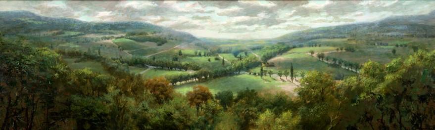 Frans landschap - 2011 - 124 x 38 cm - beschikbaar