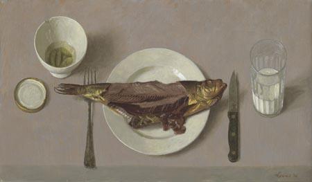 Gerookte vis – 2006 – 35 x 60 cm – olie op paneel – niet beschikbaar