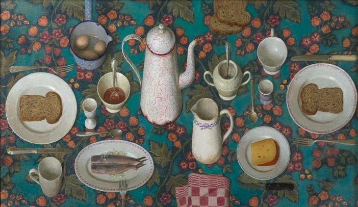 Hollands ontbijt - 2010 - 70 x 120 cm - acryl op gobelin - niet beschikbaar