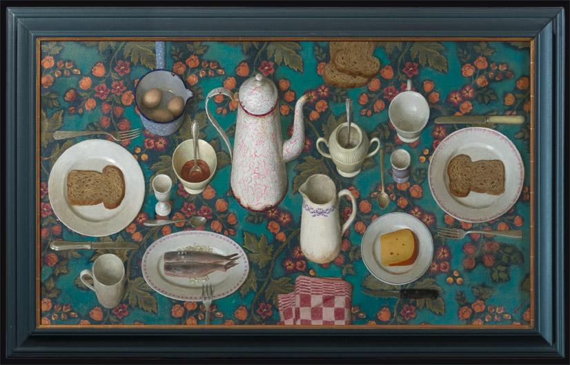Hollands ontbijt – 2010 – 70 x 120 cm – acryl op gobelin – niet beschikbaar