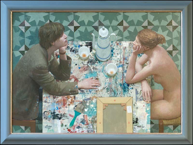 Jonge schilder en zijn muze 2011 – 125 x 90 cm – acryl op paneel – niet beschikbaar
