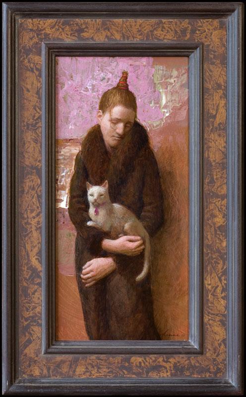 Jonge vrouw met witte poes – 24 x 49 cm – acryl op paneel – niet beschikbaar