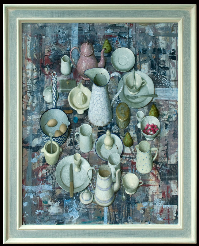 Keukengerei in ovaal – 2011 – 80 x 102 cm – acryl op paneel – niet beschikbaar