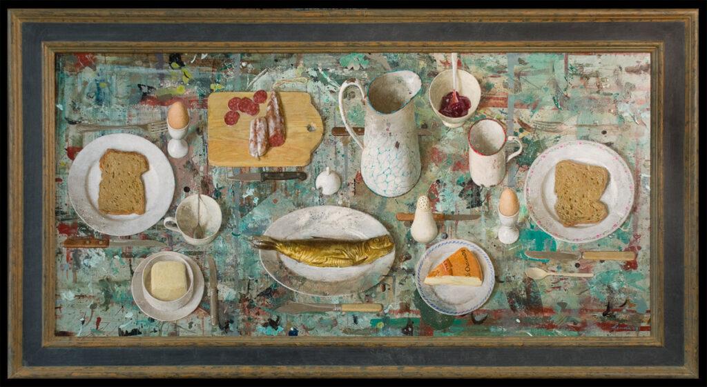 Lunch met vis – 2009 – 60 x 124 cm – acryl op paneel – niet beschikbaar