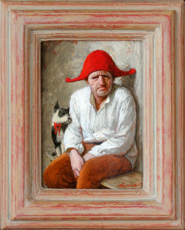 Man met hond – 2013 – 18 x 13 cm – acryl op paneel – niet beschikbaar