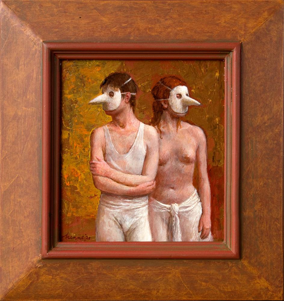 Maskers – 2020 – 26 x 23 cm – acryl op paneel – beschikbaar
