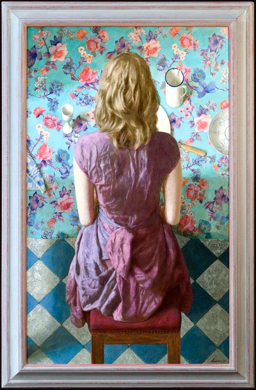 Meisje aan tafel – 2011 – 70 x 115 cm – acryl op paneel – niet beschikbaar