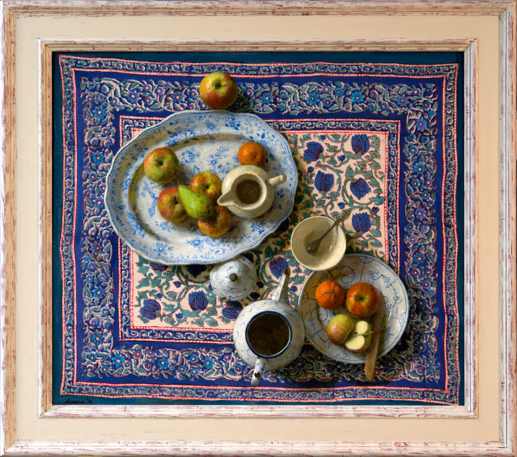 Mooi blauw met fruit – 2016 – 75 x 65 cm – acryl op paneel – niet beschikbaar