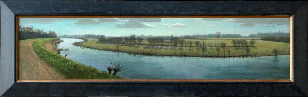 Neerijnen, opdracht 'Gelders Landschap' – 2009 – 130 x 35 cm – acryl op paneel – niet beschikbaar