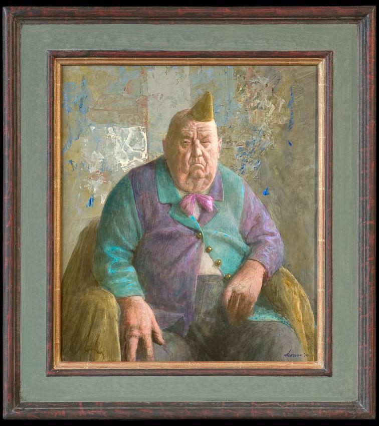 Ouwe komediant – 48 x 42 cm – acryl op paneel