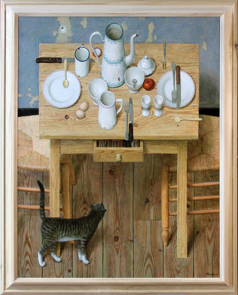 Poes onder tafel – 2014 – 115 x 90 cm – acryl op linnen – niet beschikbaar