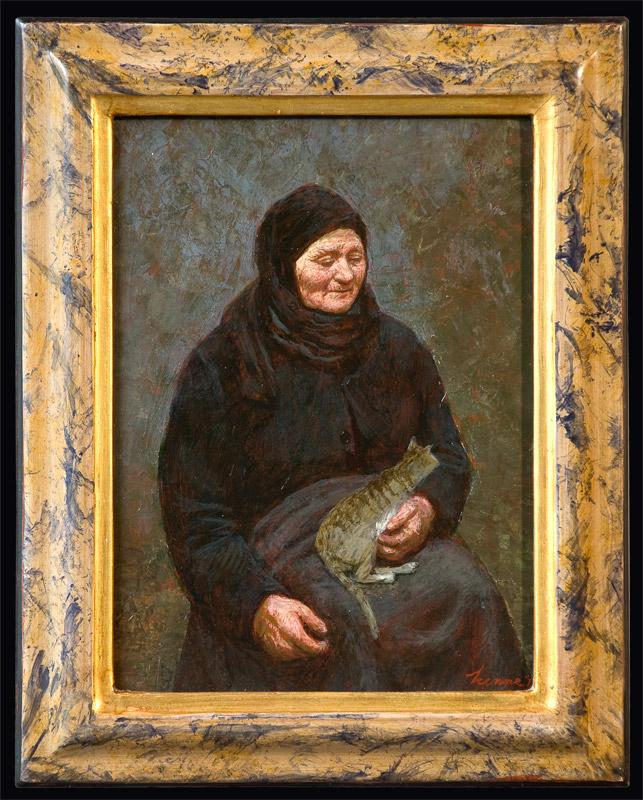 Poezenvrouwtje – 2011 – 17 x 23 cm – acryl op paneel – niet beschikbaar
