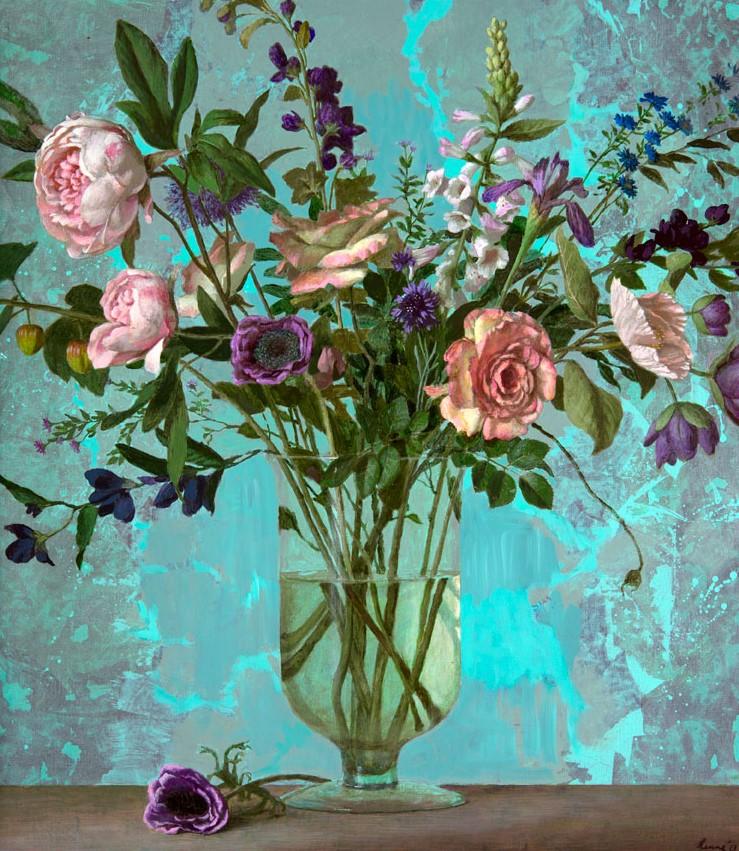 Roses and turkoois - 2013 - 90 x 80 cm - canvas - niet beschikbaar