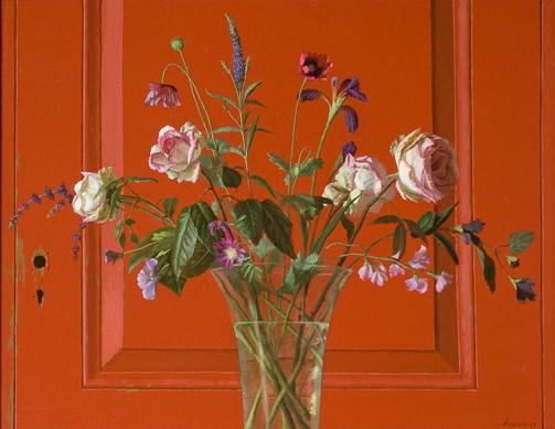 Rozen en rode deur - 90 x 70 cm - acryl op linnen - niet beschikbaar