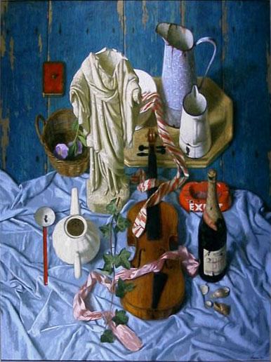 Stilleven met viool – 2003 – 120 x 90 cm – acryl op paneel – niet beschikbaar