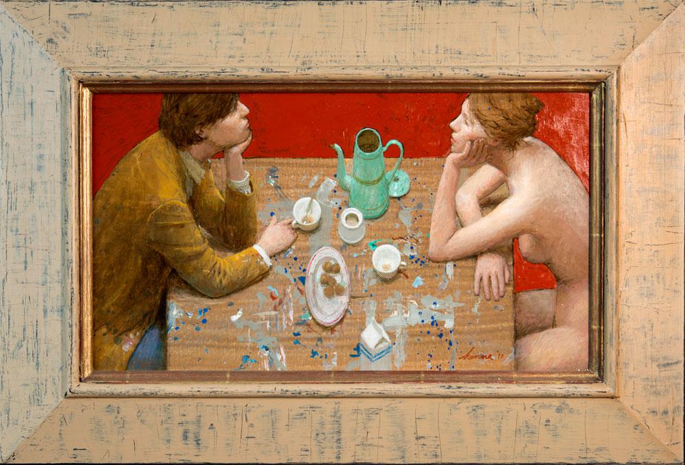 Studie van jonge schilder en zijn muze – 2011 – 45 x 46 cm – acryl op paneel – niet beschikbaar