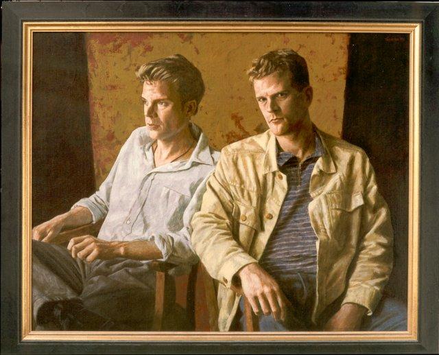 Twee heren – 100 x 80 cm – acryl op linnen – niet beschikbaar