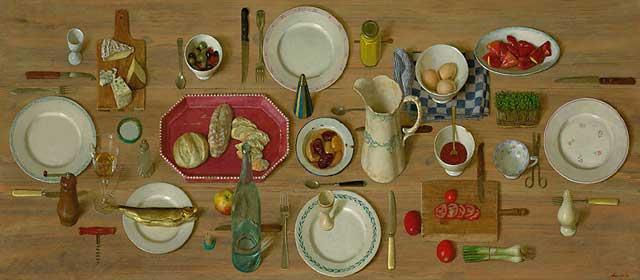 Vlaams ontbijt – 2002 – 180 x 80 cm – acryl op paneel – niet beschikbaar