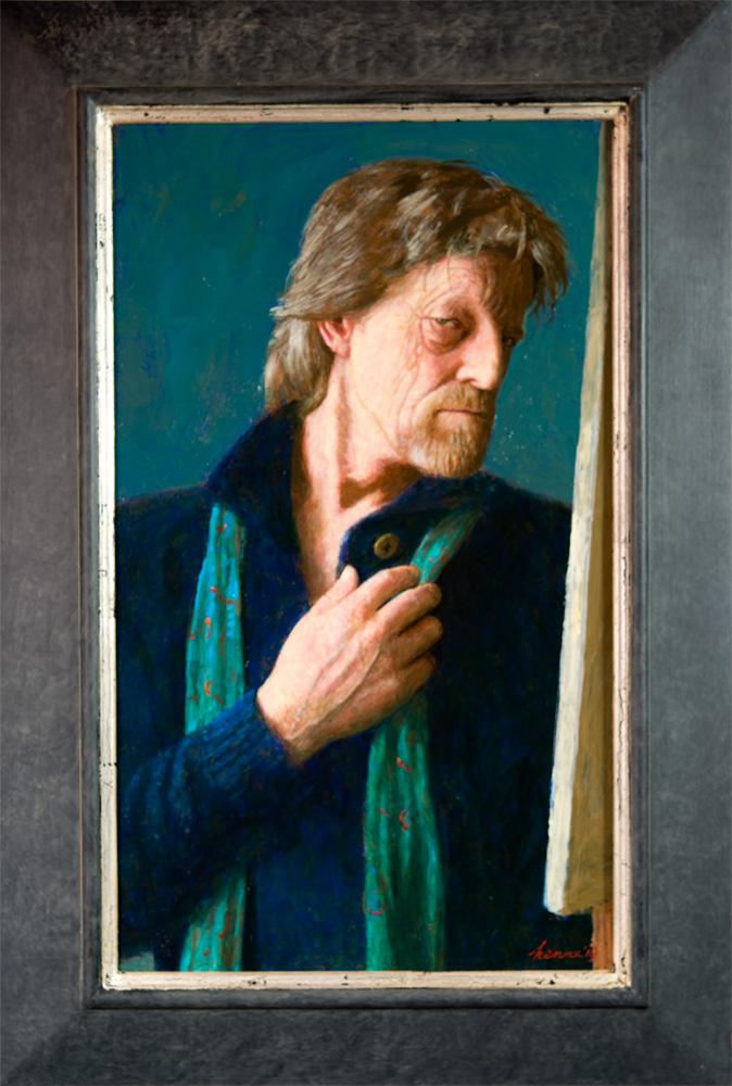 Zelfportret in blauw – 2018 – 55 x 35 cm – acryl op paneel – beschikbaar