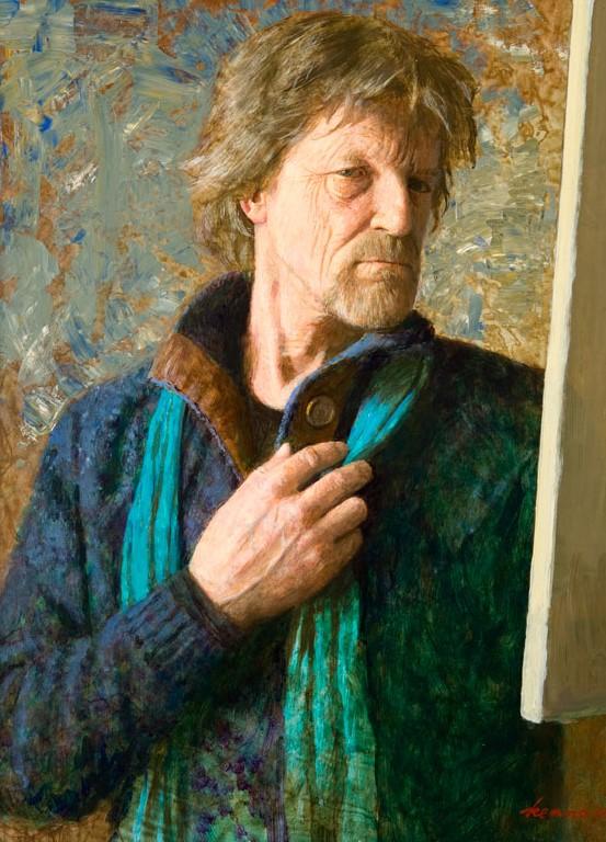 Zelfportret met doek - 2018 - 60 x 45 cm - acryl op paneel - niet beschikbaar