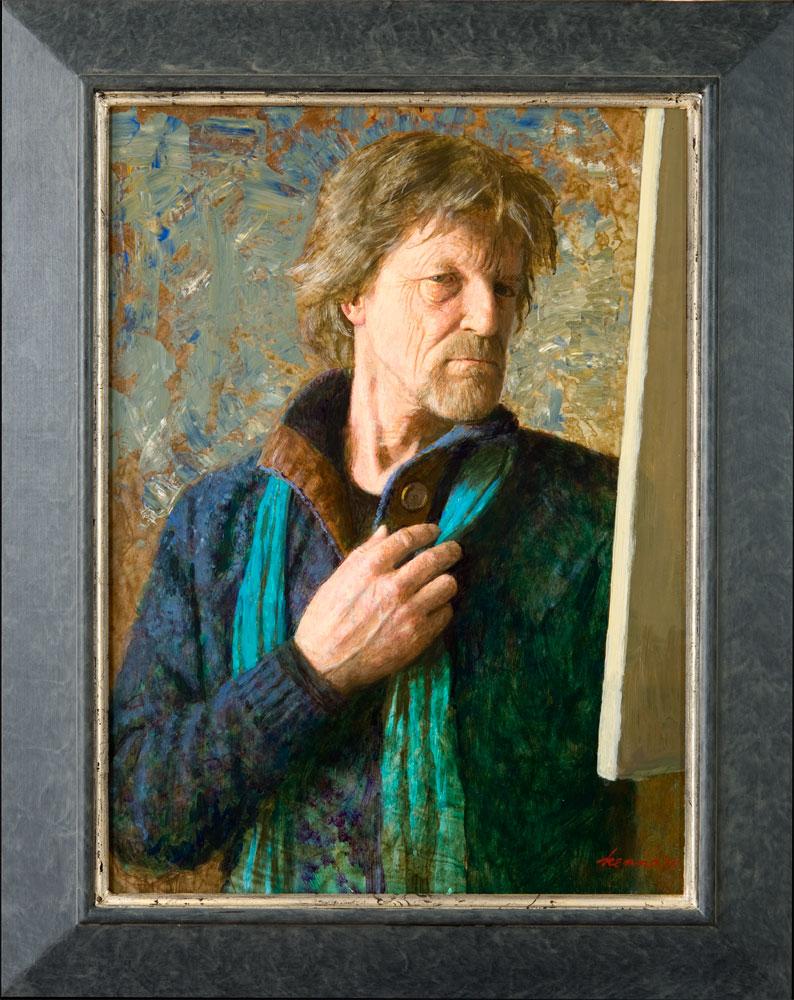 Zelfportret met doek – 2018 – 60 x 45 cm – acryl op paneel – niet beschikbaar