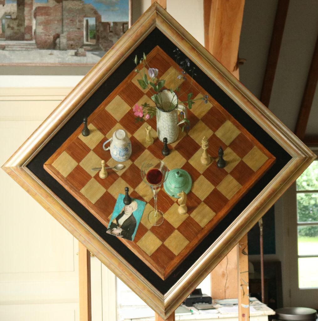 Schaakbord – 2001 – 70 x 70 cm – acryl op paneel – beschikbaar